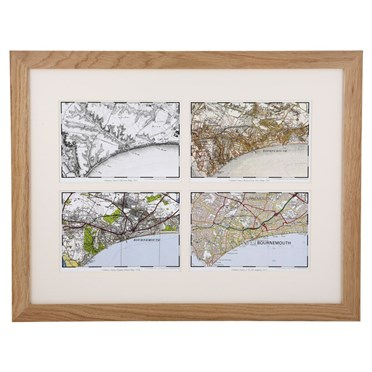 Personalised Four OS Maps in a Light Oak Frame