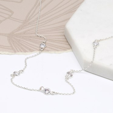 Silver plated fine chain and multi crystal necklace