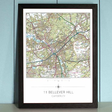 An image of Personalised Framed OS Map