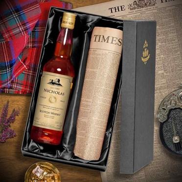 Personalised Malt Whisky & Original Times Newspaper Set