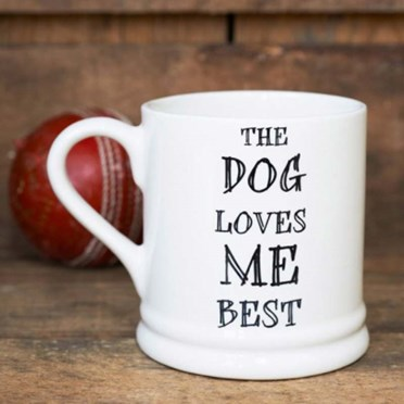 An image of The Dog Loves Me Best Mug   Woof Woof!