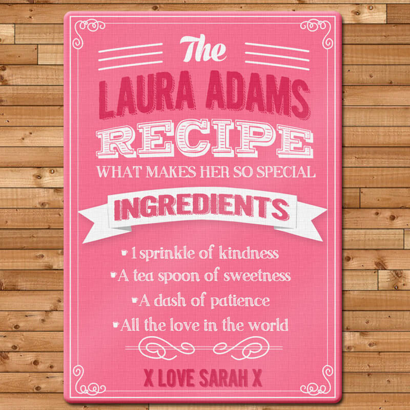 Personalised Glass Chopping Board - Pink
