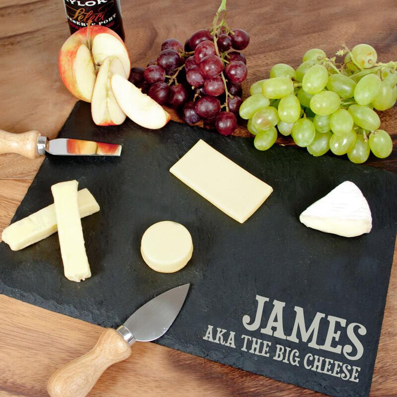 Personalised Rustic Slate Cheese Board