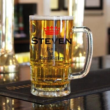 Personalised 'King of Beer Bellies' Pint Glass