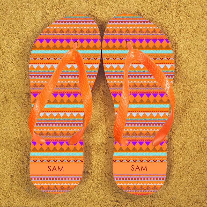 Personalised Aztec Flip Flops