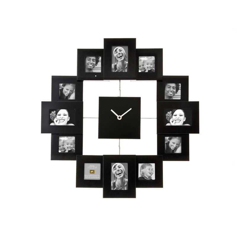 Family Time Photo Frame and Clock - Black
