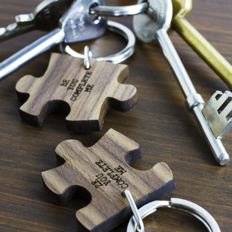 Personalised Romantic Jigsaw Piece Keyrings