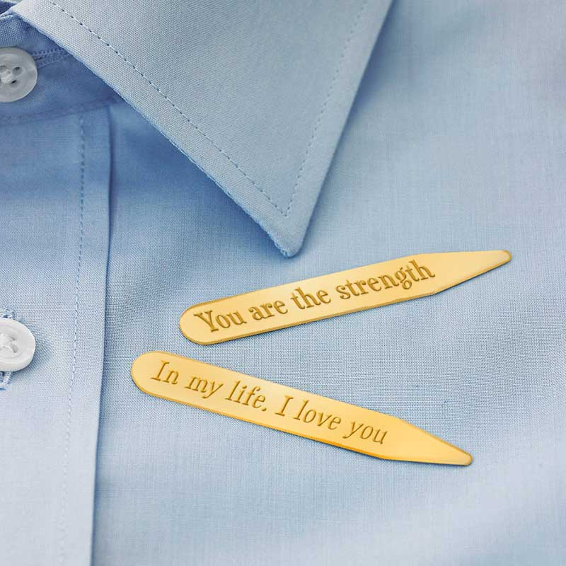 Personalised Gold Plated Collar Stiffeners