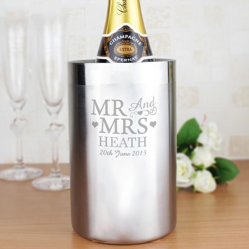 Personalised Stainless Steel Wine Cooler - Mr & Mrs