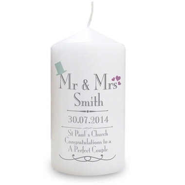 Personalised Wedding Mr & Mrs Candle