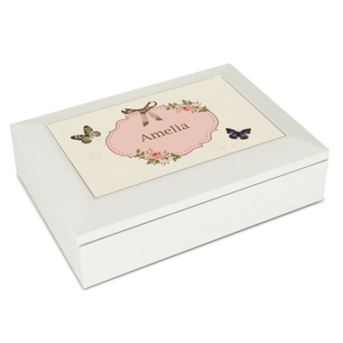 Personalised Butterfly White Jewellery Box