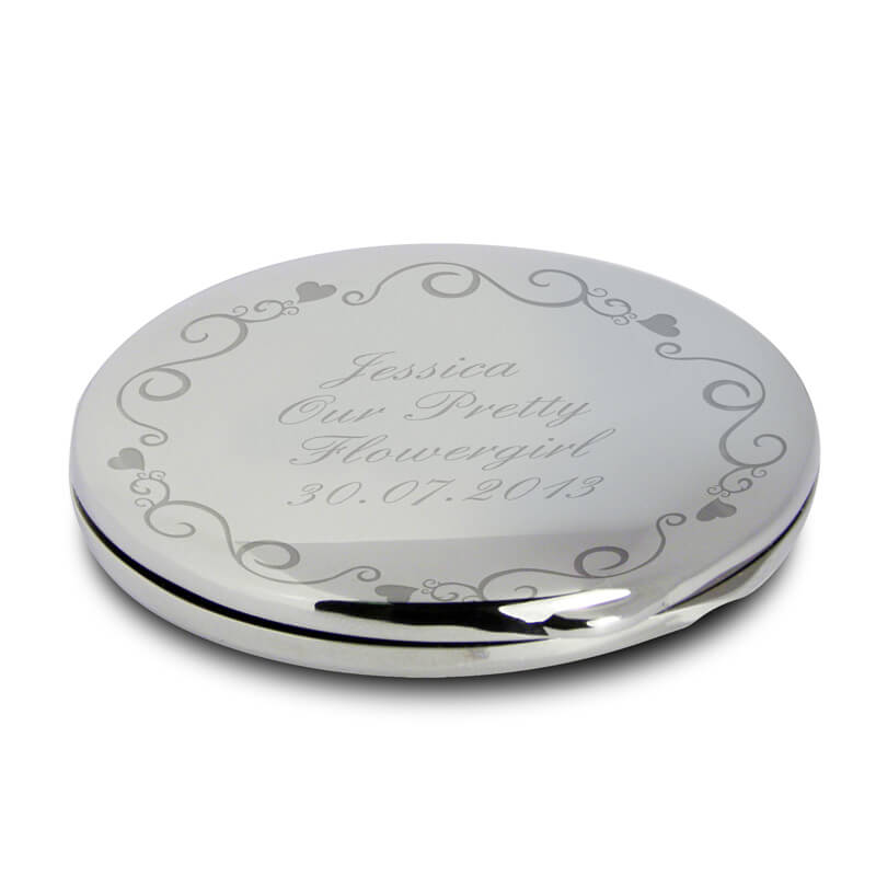 Personalised Ornate Swirl Compact Mirror