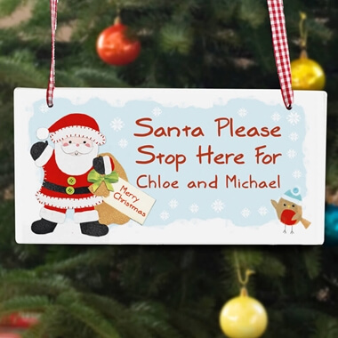 Personalised Santa Stop Here Wooden Sign