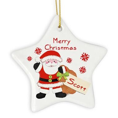 Personalised Ceramic Santa Decoration