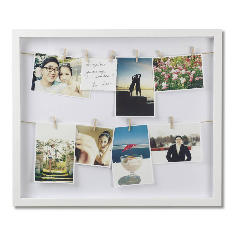 Clothesline Shadow Box Photo Frame
