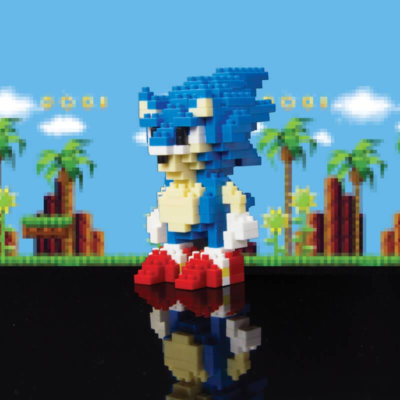 Pixelated Sonic The Hedgehog Building Bricks Kit