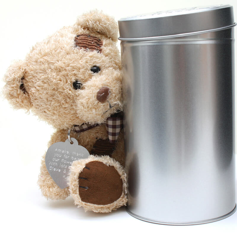 Personalised Teddy Bear in a Gift Tin - Children's Birthday Your Kids Bday - 1st Birthday