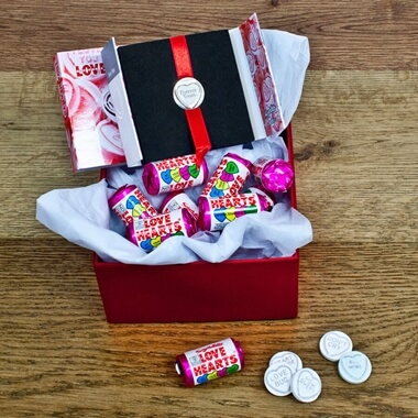 Personalised Silver Plated Love Heart in Sweetie Box