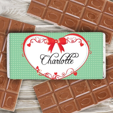 Personalised Red Ribbon Chocolate Bar