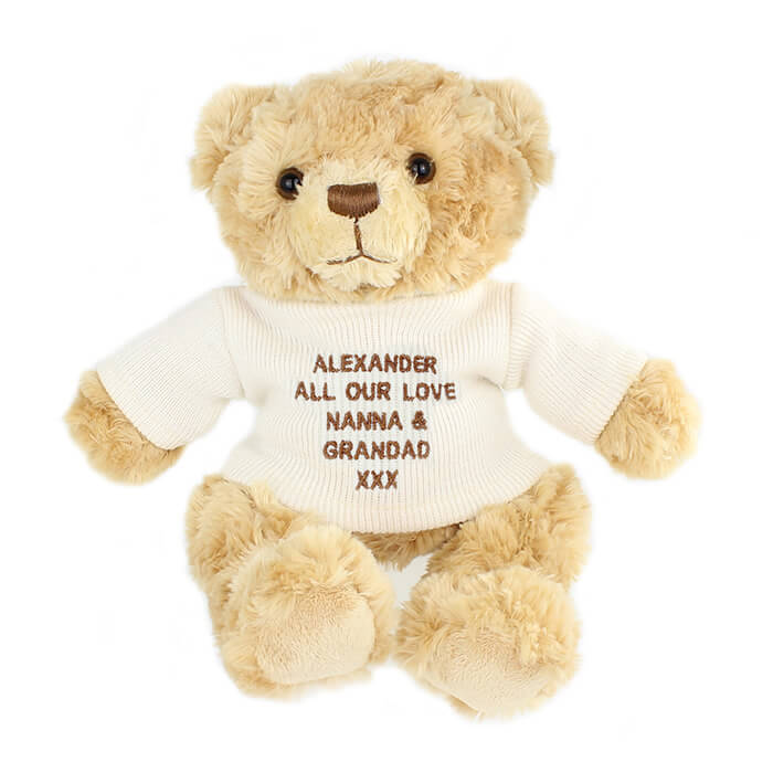 Personalised Teddy Bear with Jumper - Baby  Birthday Your Baby Gifts - Boys - 3-6 months