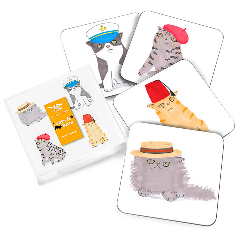 Cats & Hats Coasters