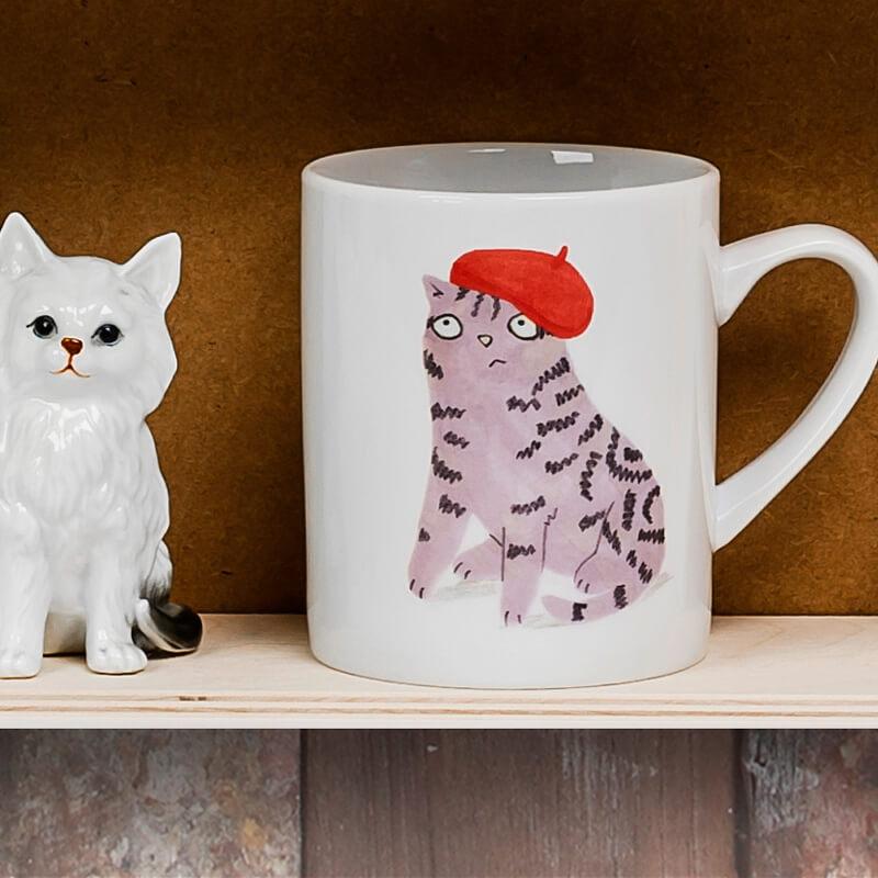 Cats & Hats Big Mug - Tabby In A Beret