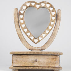 Wooden Heart Mirror Dressing Table