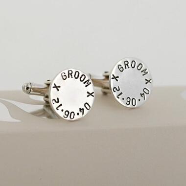 Personalised Round Silver Cufflinks