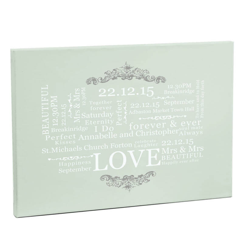 Personalised Wedding Typographic Canvas