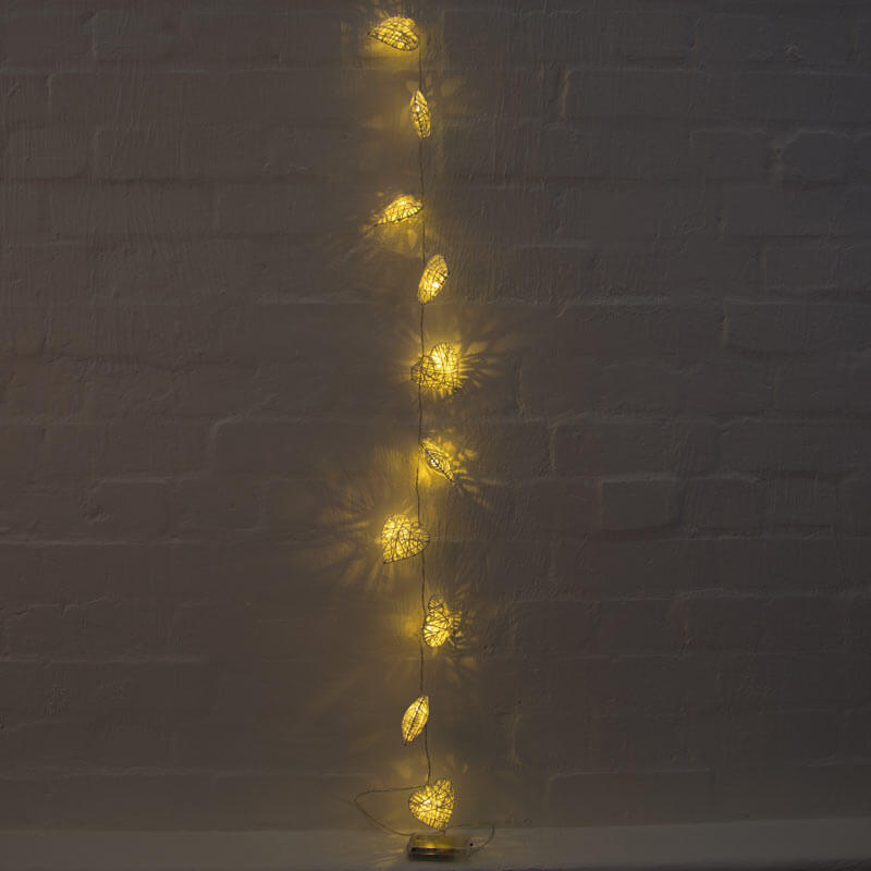 White Heart Rattan String Lights