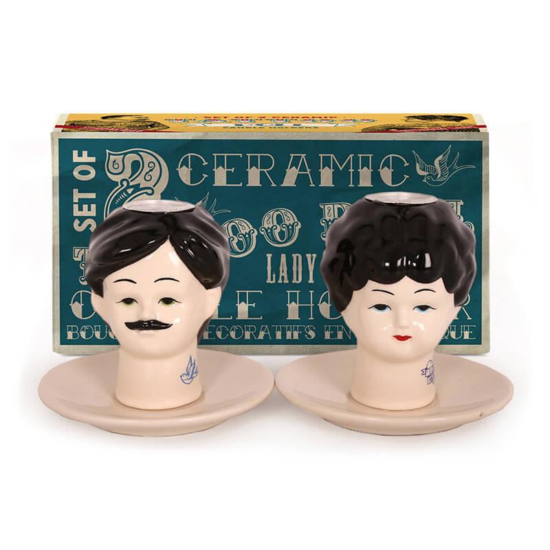 Dolls Head Candlestick Holders (Set of 2)