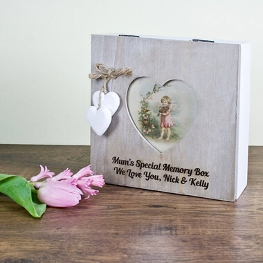 Personalised Rustic Heart Frame Memory Box