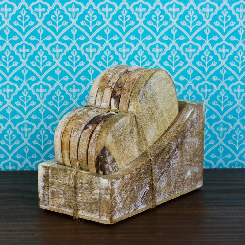 Heart Shaped Wooden Coaster Set Buy From Prezzybox Com