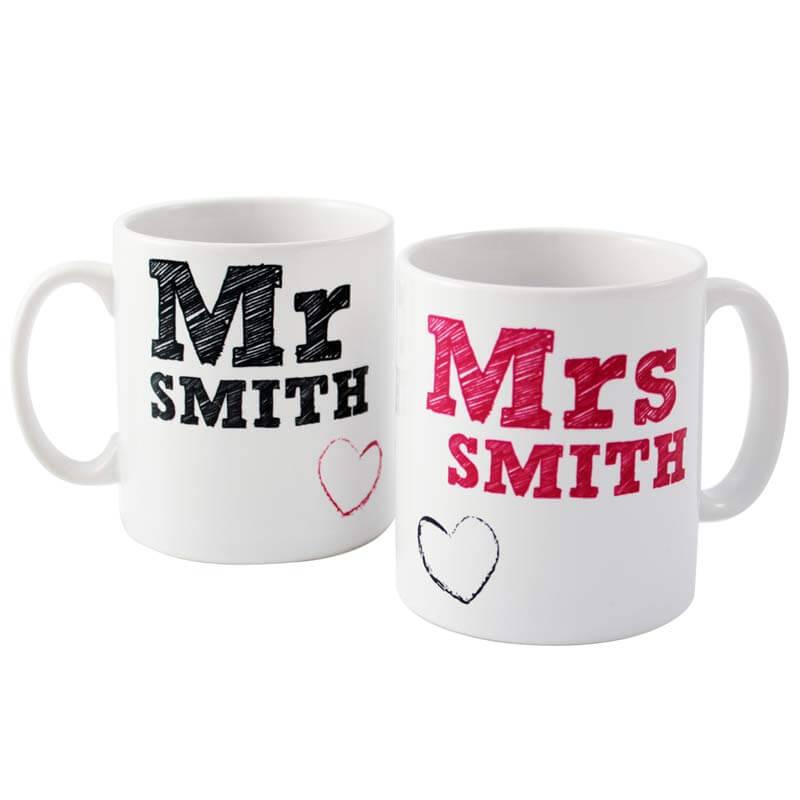 Personalised Mr and Mrs Mug Set