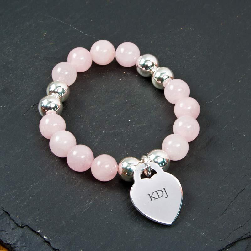 Personalised Rose Quartz Bracelet