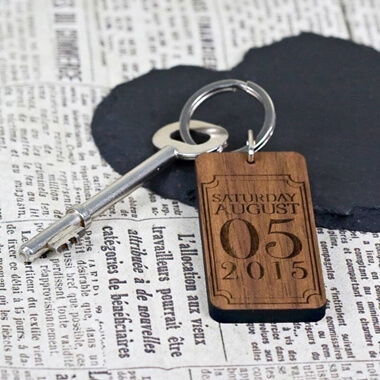 Personalised Special Date Rectangle Key Ring