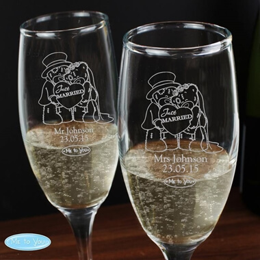 Personalised Me To You Engraved Wedding Flutes