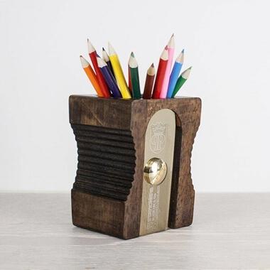 Personalised Wooden Pen Pot - Dark