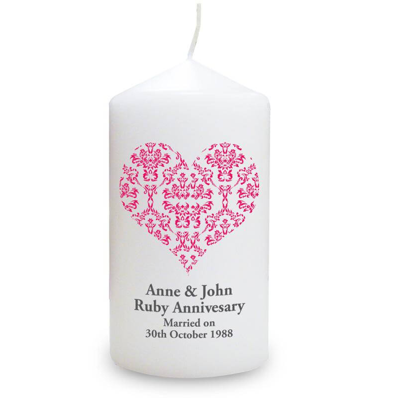 Personalised Ruby Wedding Anniversary Candle