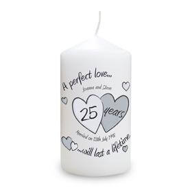 Personalised Silver Anniversary Candle