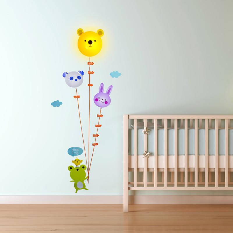Animal Height Chart Light With Wall Sticker