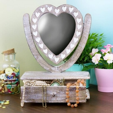 Wooden Heart Mirror Dressing Table Jewellery Box