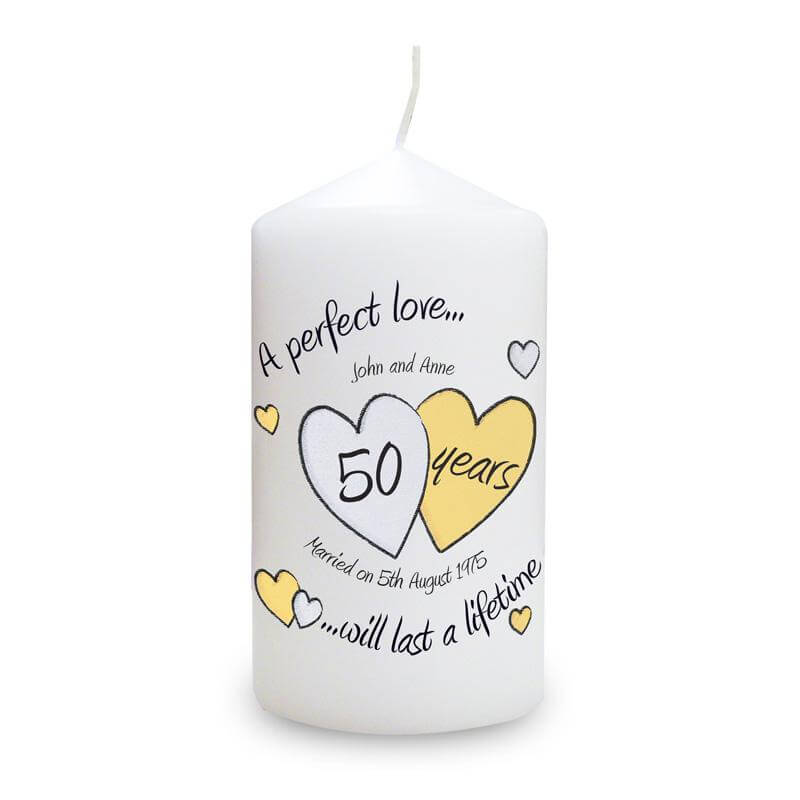Personalised Golden Anniversary Candle
