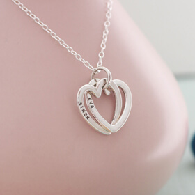 Personalised Interlinking Love Hearts Necklace