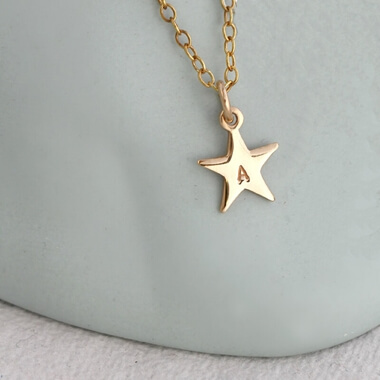 Personalised Bright Star Necklace - Gold