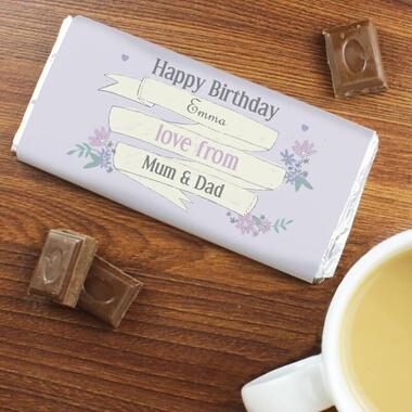 Personalised Garden Bloom Chocolate Bar