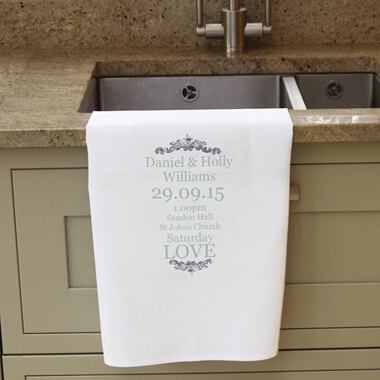 Personalised Wedding Typography Tea Towel