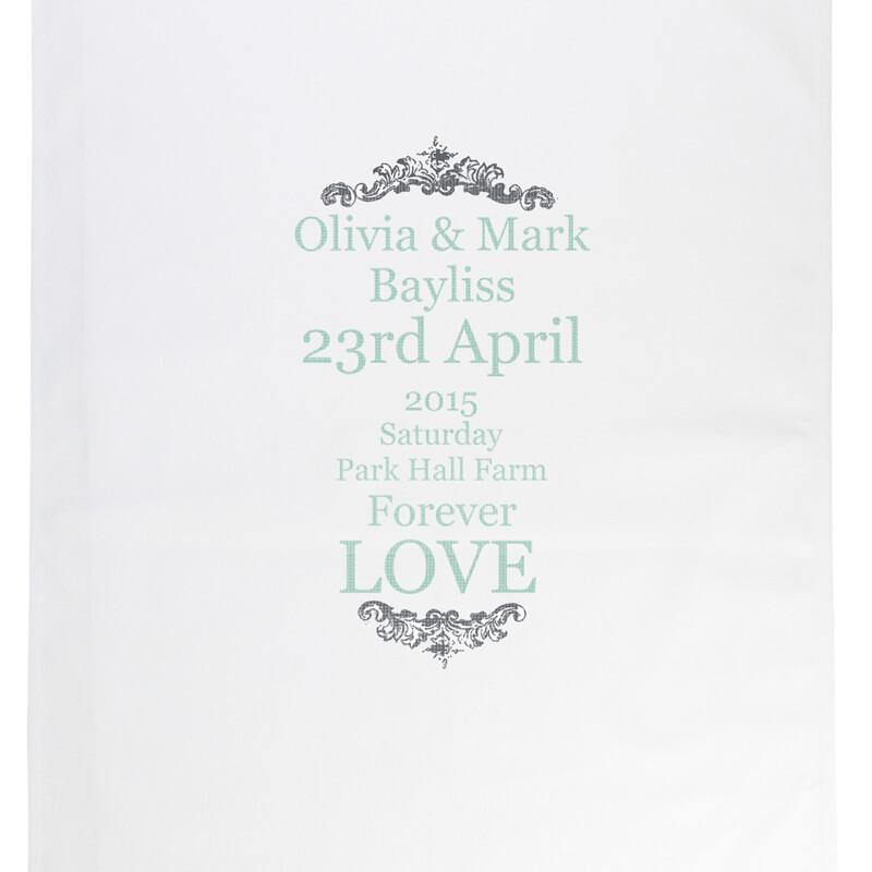 Personalised Wedding Typography Tea Towel