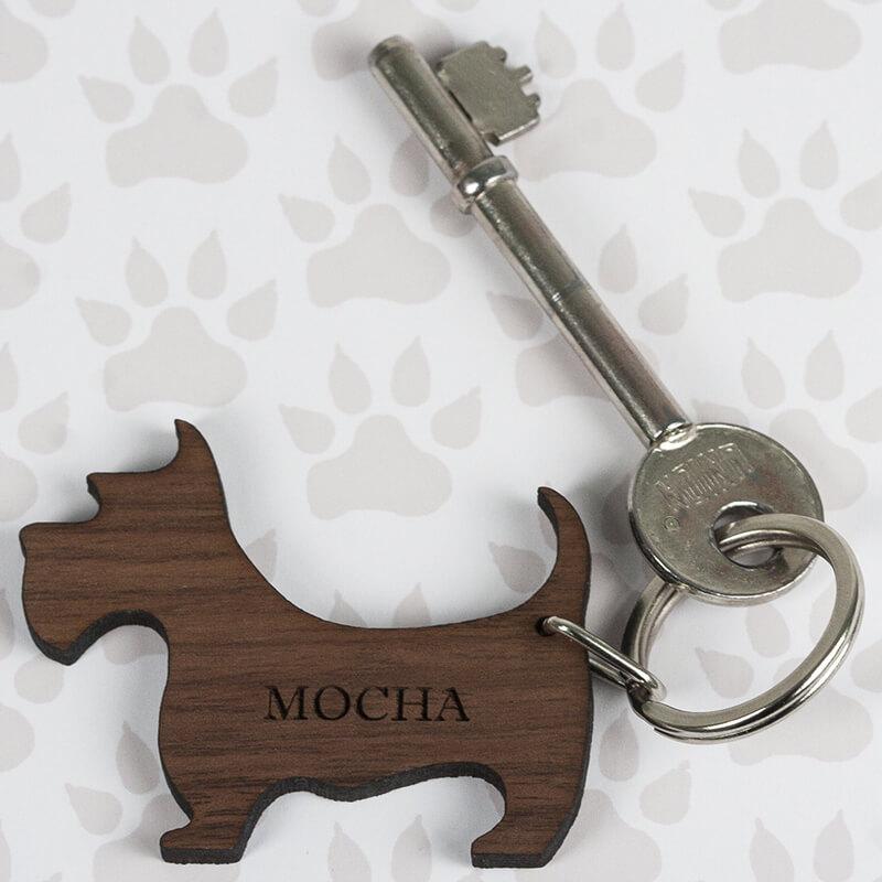 Personalised Wooden Dog Keyring