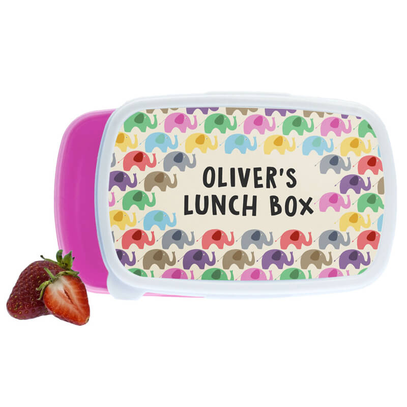 Personalised Patchwork Elephants Lunch Box